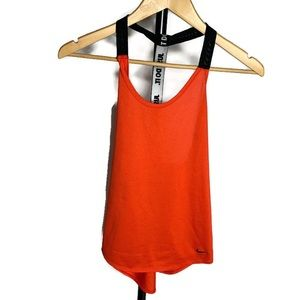 Nike Red Scoop Neck Coral Open Back Tank Top Shirt